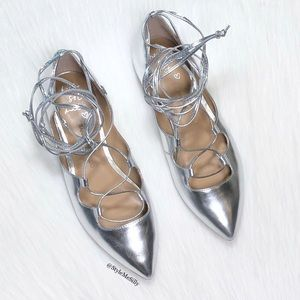 """Banana Republic silver """"Allie"""" lace-up flats"""